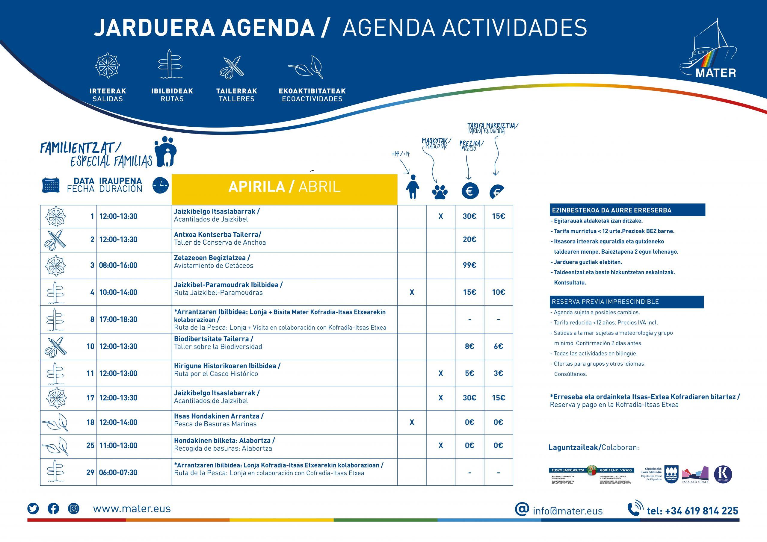 Agenda Apirila/Abril